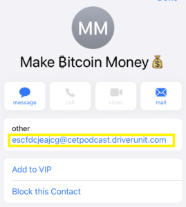 Example of a from address in a Bitcoin scam email